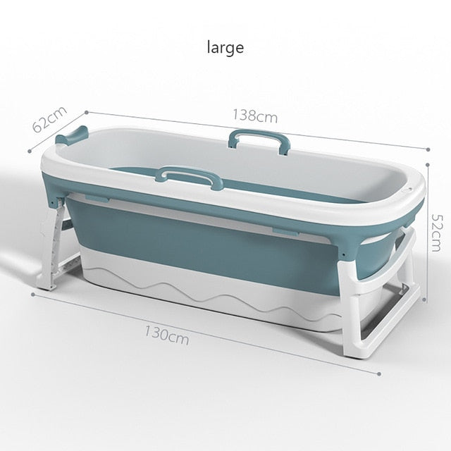 Folding Adult Bath Barrel Lengthen 1.38m Adult Bath Children Swimming Plastic Bathtub Thickening Bathtub with Bathtub Cover - WizWack