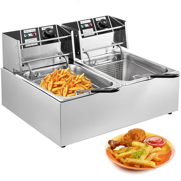 VEVOR 12L Commercial Electric Deep Fryer Double Tank Stainless Steel Oil Fat Chip Fryer Oven French Fries Frying Machine