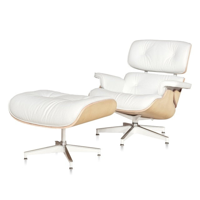 Furgle Modern White Genuine Leather Recliner with Ottoman White Ash Wood Mid Century Lounge Chair Chaise Living Room Bedroom