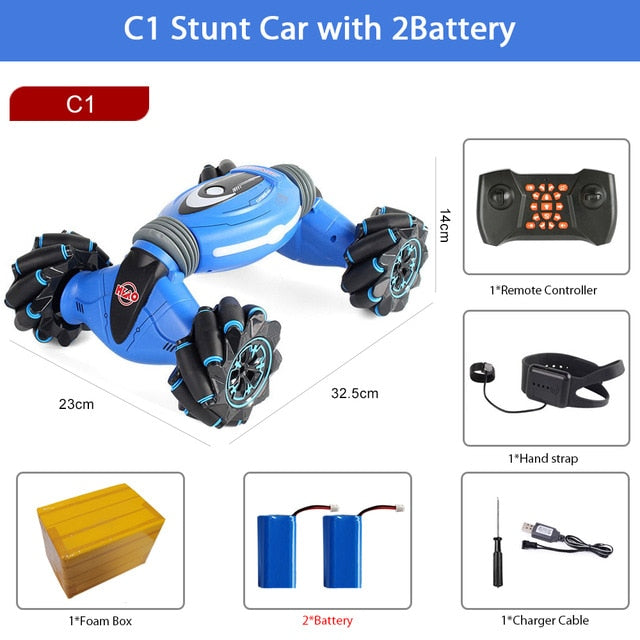 Remote Control Stunt Car Gesture Induction Twisting Off-Road Vehicle Light Music Drift Dancing Side Driving RC Toy Gift for Kids - WizWack