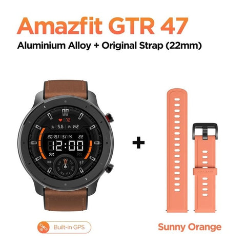 Global Version Amazfit GTR 47mm Smart Watch 5ATM Waterproof Smartwatch 24 Days Battery Music Control Leather Silicon Strap