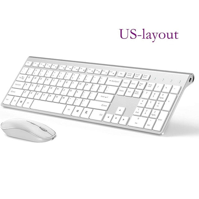Wireless keyboard and mouse combination, 2.4 gigahertz stable connection rechargeable battery, UK/France/Germany/Spain/US layout - WizWack