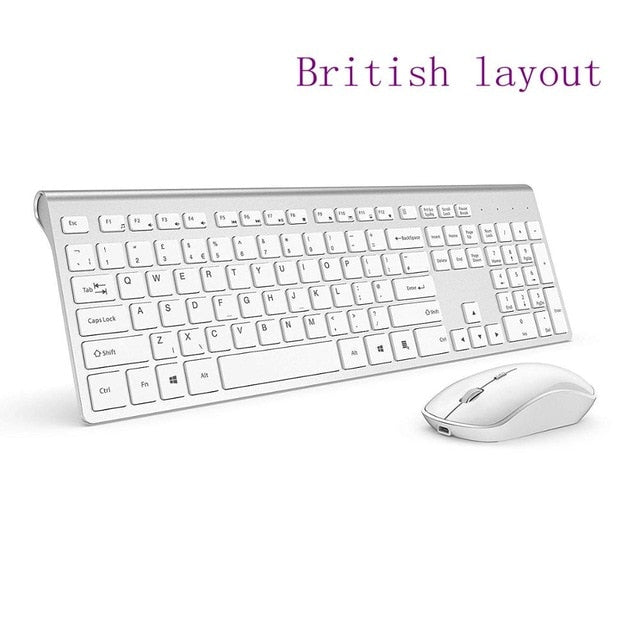 Wireless keyboard and mouse : Wireless keyboard and mouse combination 2.4 ghz EU Layoutcombination, 2.4 gigahertz stable connection rechargeable battery, UK/France/Germany/Spain/US layout - WizWack