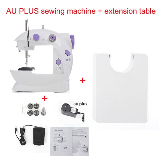 Sewing Machine Mini Portable Household Night Light Foot Pedal Straight Line Hand Table Two Thread Kit Electric - WizWack