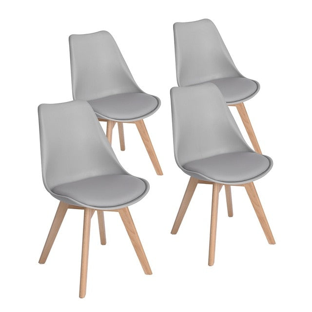 Dining Chair Set of 4 Modern Minimalist Gray White Black PU Padded Seat Beech Wood Legs Dining Room Bedroom Balcony Restaurant
