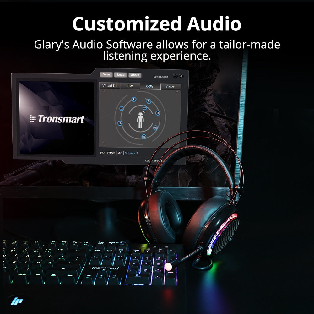 Tronsmart Glary Virtual 7.1 Virtual Surround Gaming Headset Noise Cancelling Mic Headphones for ps4, switch,Computer,Laptop - WizWack