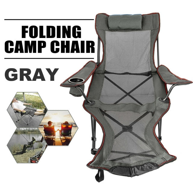 VEVOR Reclining Folding Camp Chair with Footrest Portable Nap Chair for Outdoor Beach Sun Camping Fishing Lounge Chair