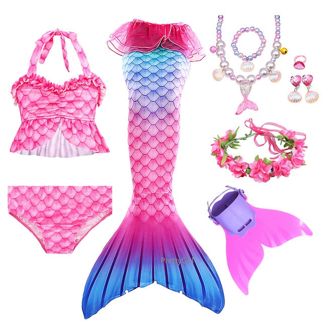 PrettyGirl Party Kids Girls Swimming Mermaid tail Mermaid Toys Costume Cosplay Children Swimsuit Fantasy Beach Bikini can add Monofin Fin Birthday present