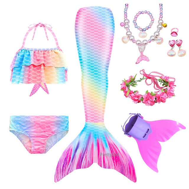 PrettyGirl Party Kids Girls Swimming Mermaid tail Mermaid Toys Costume Cosplay Children Swimsuit Fantasy Beach Bikini can add Monofin Fin Birthday present - WizWack