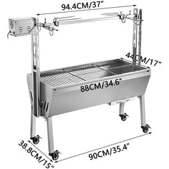 18W 88Lbs BBQ Grill Spit Roaster Stainless Steel for Hog Goat Pig Chicken Lamb Grill Rotisserie Barbecue Charcoal Roast Machine