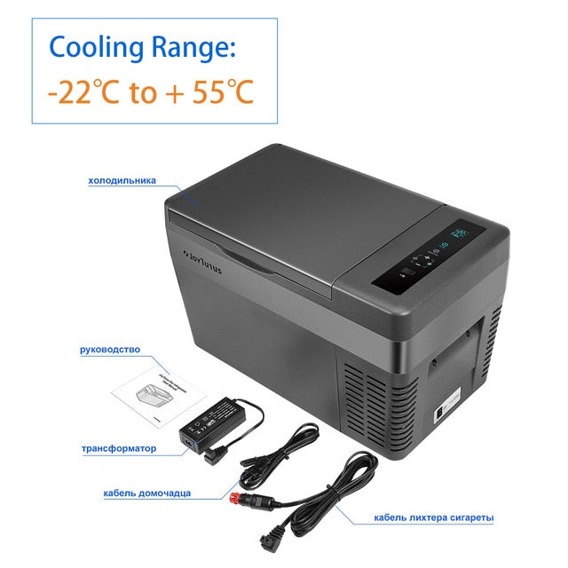 25L Car Refrigerator 12V/24V 45W Compressor Cooler Portable Car Fridge Cool and Heat 2 Charging Methods for Home Travel Camping