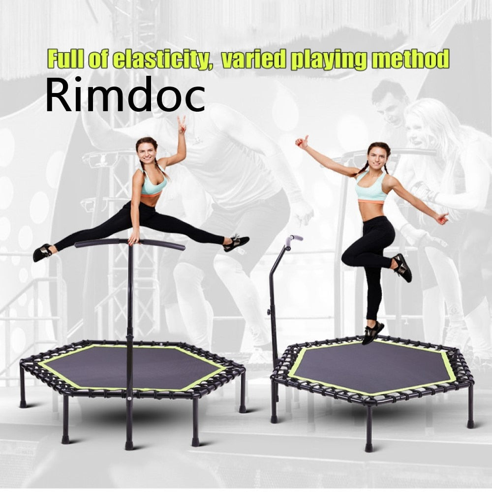 Rimdoc 48inch Fitness Exercise Trampoline W/Bar Handle 3 Levels Height Adjustable Jumping Cardio TRANER Workout Jumping Fitness - WizWack
