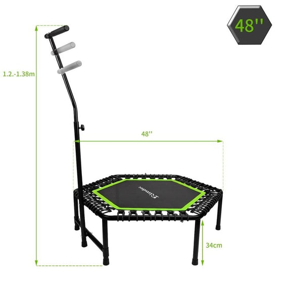Rimdoc 48inch Fitness Exercise Trampoline W/Bar Handle 3 Levels Height Adjustable Jumping Cardio TRANER Workout Jumping Fitness