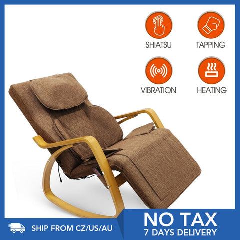 Furgle Grey Widen Massage Chair 3D Shiatsu Full Back Massage Recliner 8 Modes Full Body Massage Rocking Chair Break Lounge Chair