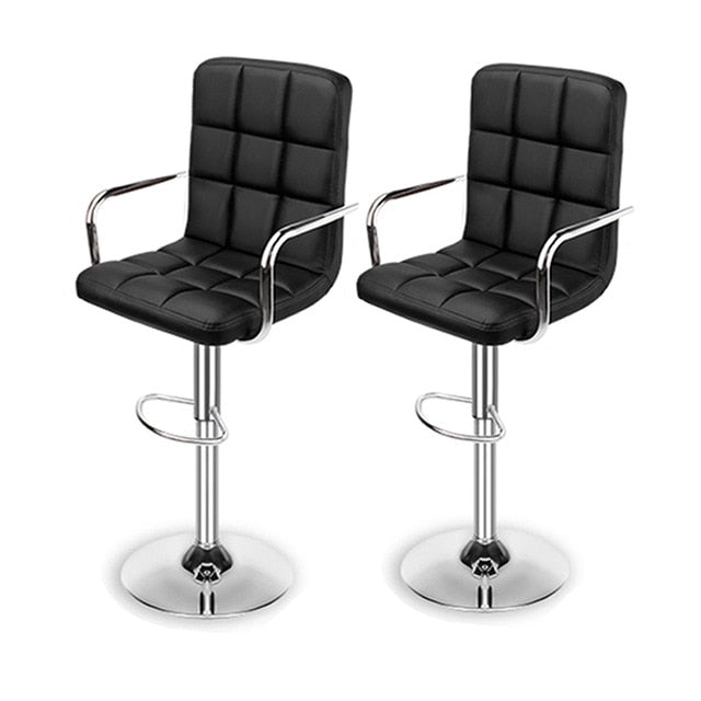 Set of 2 Modern Leather Bar Stools Dining Chairs Height Adjustable Swivel Stools Kitchen Counter Bar Chairs for Home Office Bar - WizWack