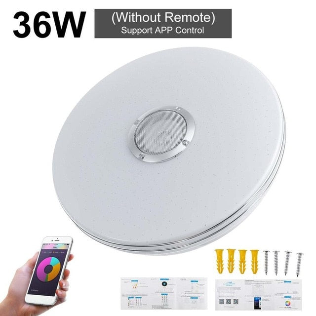 Modern RGB LED Ceiling Lights Home lighting 36W 72W APP bluetooth Music Light Bedroom Lamps Smart Ceiling Lamp+Remote Control - WizWack
