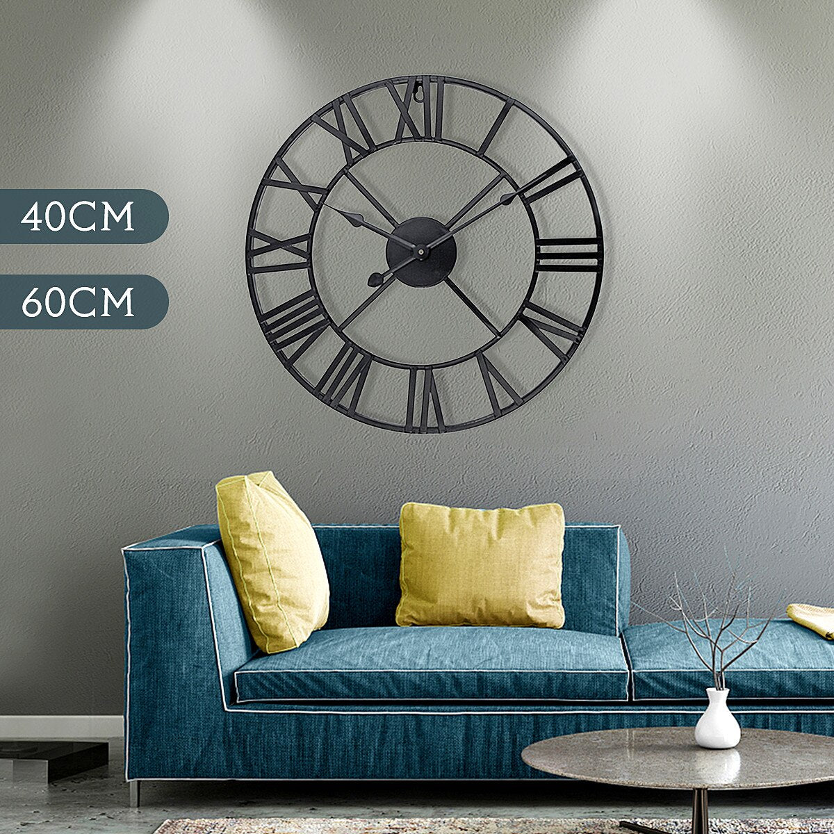 Newest 40cm/60cm Wall Clock Vintage Home Decor Livingroom Roman Round Shape Wall DecorativeHome Decoration Accessories Clock - WizWack