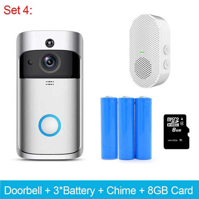 ZWN Smart Wireless Wifi Video Doorbell Intercom 720P Phone Call Door Bell Camera Infrared Remote Record Home Security Monitoring