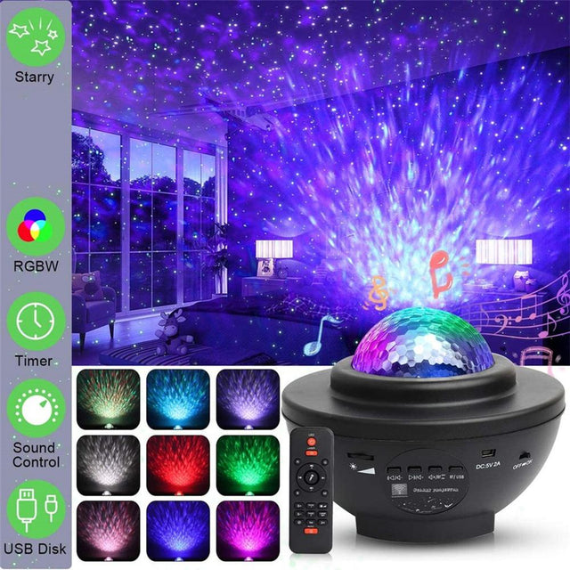 Colorful  Blueteeth USB Voice Control Music Player LED Night Light Romantic Projection Lamp Birthday Gift Disco Light