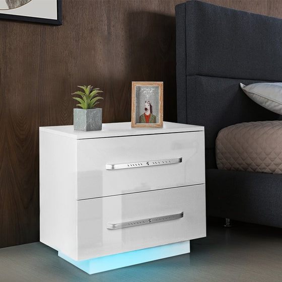 Modern LED Night Table with 2 Drawers Organizer Storage Cabinet Bedside Table Home Bedroom Furniture Nightstands for Night
