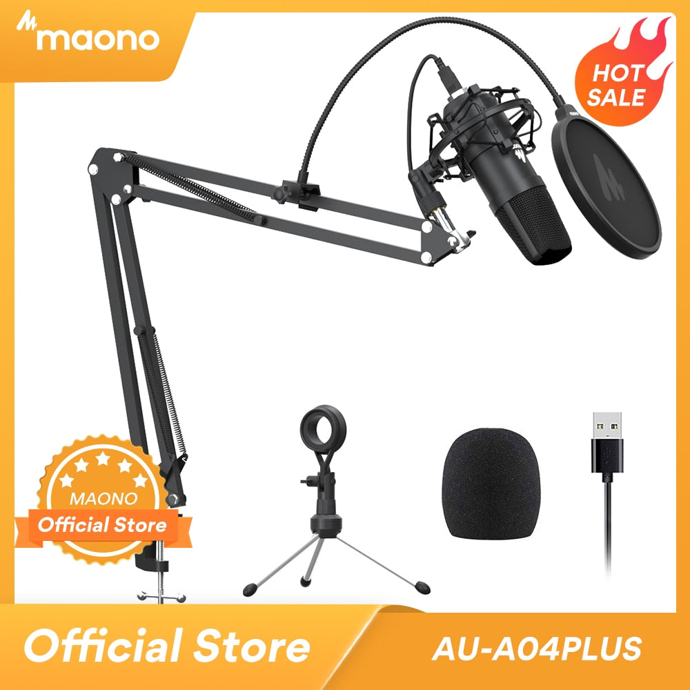 MAONO A04Plus USB Microphone Cardioid Condenser Podcast Microfono 192kHz/24bit Plug and Play With for Livestreaming YouTube ASMR