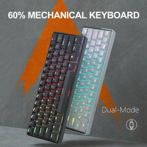 KEMOVE SnowFox 61 Key Mechanical Keyboard Switch 60% NKRO Bluetooth PBT Keycaps Wireless Wired Gaming Keyboard PC TABLET vs DK61