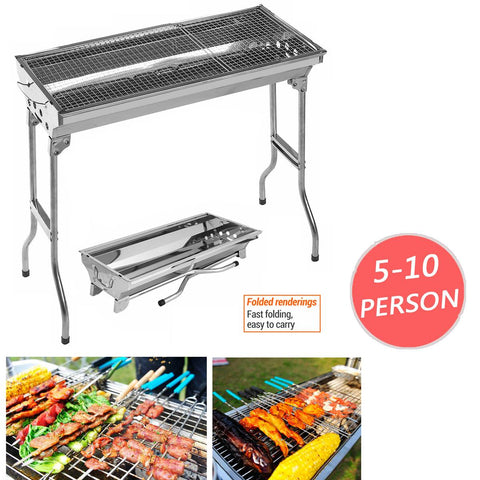 Charcoal Grill Stainless Steel BBQ Grill Barbecue Outdoor Portable Folding Free-installation BBQ Cooking Grid Barbeque Grill