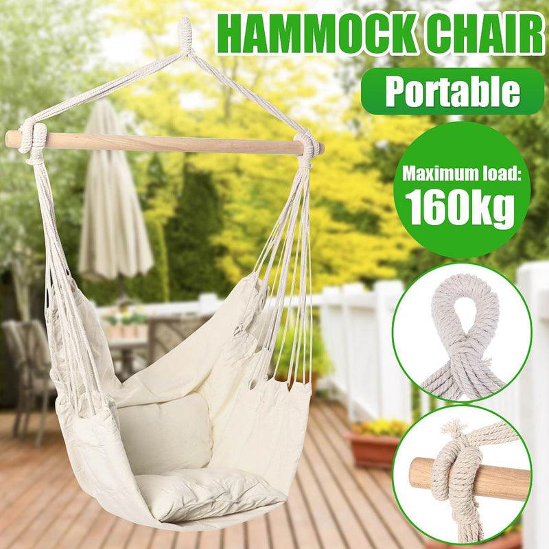 Hammock Made of Solid Timber Rail with Quality Polyester Cotton, Perfect For Camping and Your Garden
