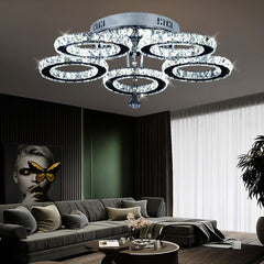 Modern Crystal LED Chandeliers Lighting Chrome Plafon Lustre Stainless Steel Luminaire Hanging Ceiling Lamp Fixtures