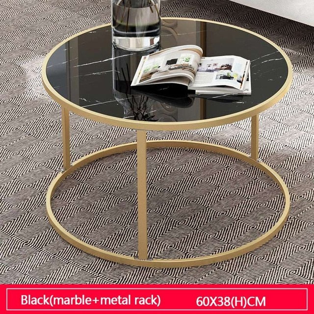 Tea Table End Table For Office Coffee Table Wooden Round Marble Magazine Shelf Small Table Movable Bedroom Living Room Furniture