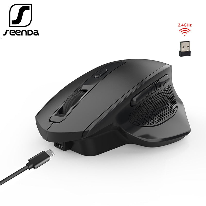 SeenDa  2.4G Wireless Mouse Rechargeable Gaming Mouse for Gamer Laptop Desktop USB Receiver Silent Click Mute Mice