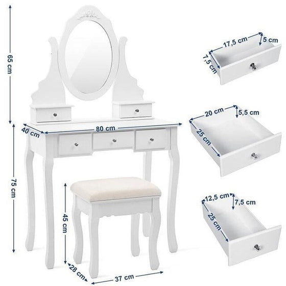 1Pcs Concise Drawer Vanity Makeup Dressing Table With Mirror Dresser Chair Wooden Assembly Home Bedroom Mini Cosmetic Table HWC