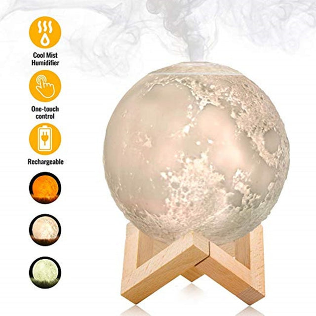 Aroma Diffuser Ultrasonic Essential Oil Air USB Humidifier 3D Full Moon Lamp Night Light  Night Cool Mist Purifier Present for Women gifts