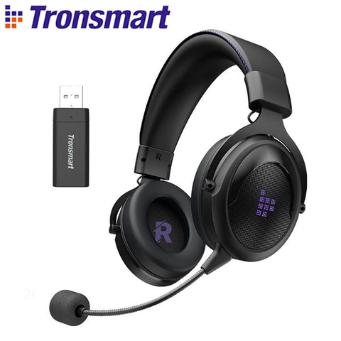 Tronsmart Shadow Gaming Headset 2.4G Wireless Headphones with Comfortable Headband for PS5, PS4, PC, PS4 Pro, Mac, Switch, Xbox