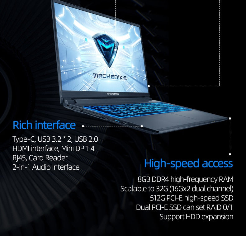 Machenike T90 T58 Gaming Laptop intel i7 10th Gen 15.6 FHD Laptop GTX1650 Computer Laptops 16G RAM 512G SSD 1T HDD Notebook IPS - WizWack