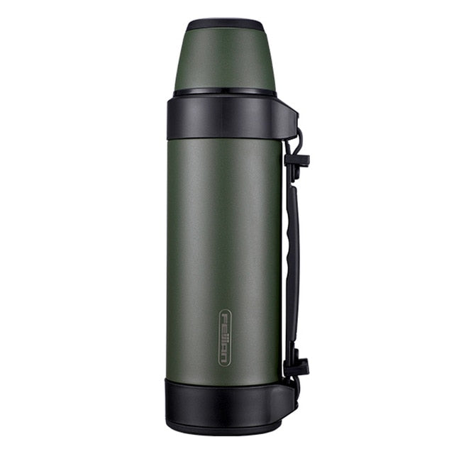 FEIJIAN Military Thermos, Travel Portable Thermos For Tea, Large Cup Mugs for Coffee, Water bottle, Stainless Steel ,1200/1500ML - WizWack