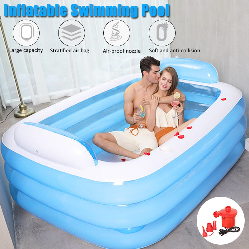 150/180CM PVC Inflatable Bathtub Foldable 3 Layers Large Family Swimming Pool