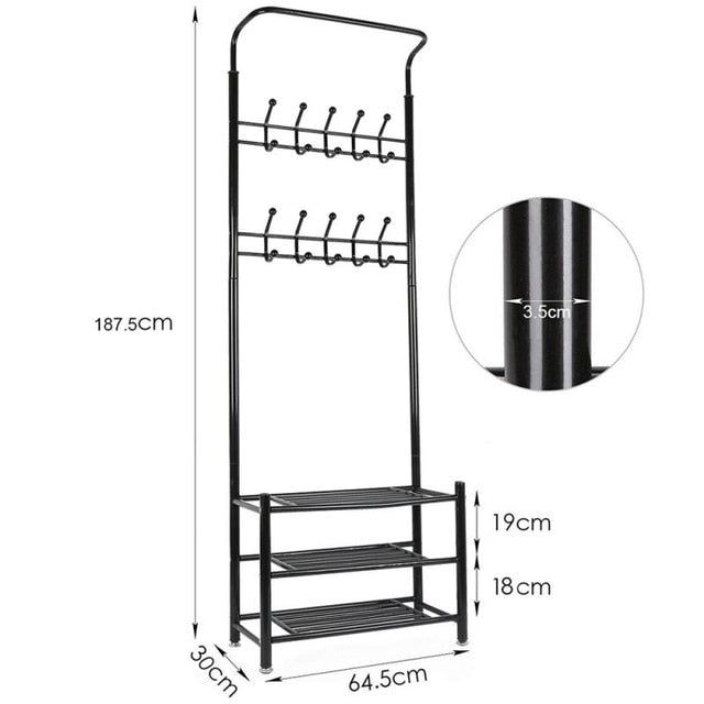 185x66x30cm Metal Coat Rack Multifunction Floor Standing Clothes Hanger Rack 3 Tier Clothes Shoes Storage Organizer Shelf HWC - WizWack