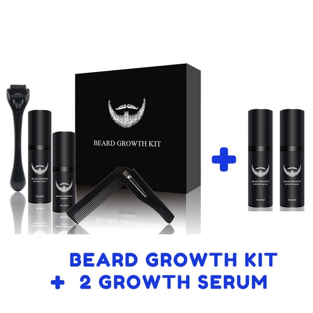 Beard Growth Kit Hair Growth Enhancer Thicker Oil Nourishing Leave-in Conditioner Beard Grow Set with Beard Growth roller - WizWack