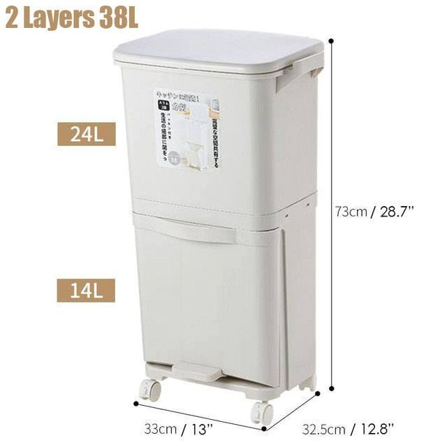 38/42L Large Capacity Trash Can 2/3 Layers Double Deck Waste Sorting Bins Kitchen Household Restaurant Dustbin Storage Waste Bin