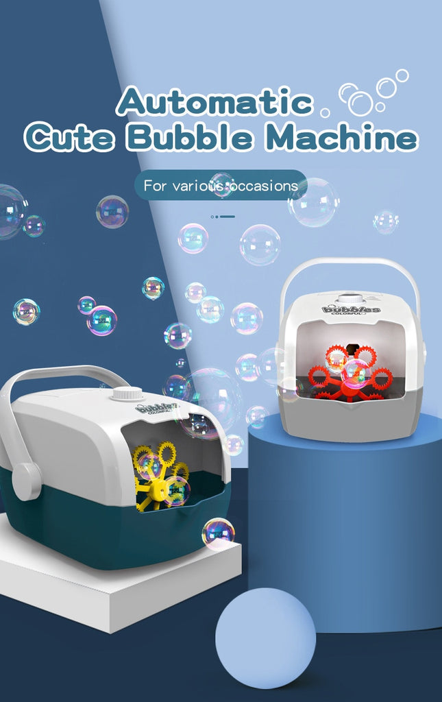 Bubble Machine Automatic Bubble Blower Party Birthday Wedding Atmosphere Bubble Maker Summer Outdoor Toy  With Charging Kids Toys Gifts - WizWack