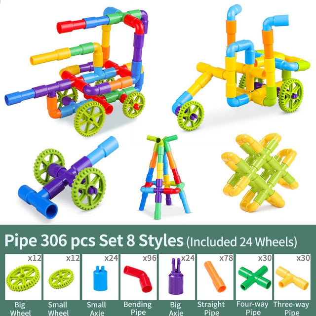 DIY Water Building Blocks Toys Lego Toy Pipeline Montessori Toys Construction Educational STEM Designer Toys For Girls Kids Water Bricks