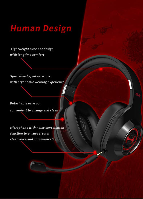 EDIFIER G2II Gaming Headset Virtual 7.1 Surround Sound Headphone RGB LED Light 50mm Driver Unit with Denoise Mic for PC Gamer