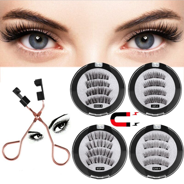 Big eyes Eyelashes With Magnets Handmade Reusable Eyelashes For Makeup Faux Cils Magnetique Naturel Tweezers