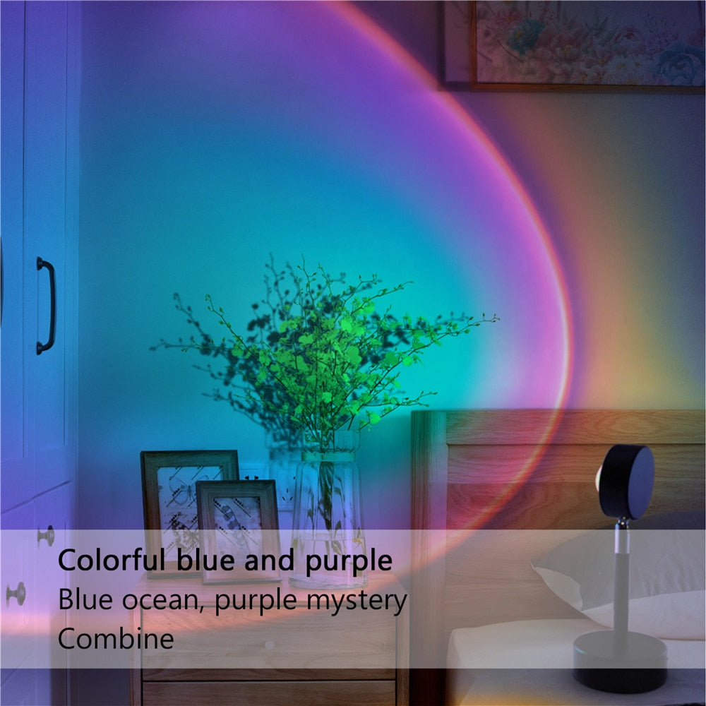 Sunset Projection Lamp Rainbow Atmosphere Led Projector Night Light for Home Bedroom BackWall Decoration USB Table Lamp