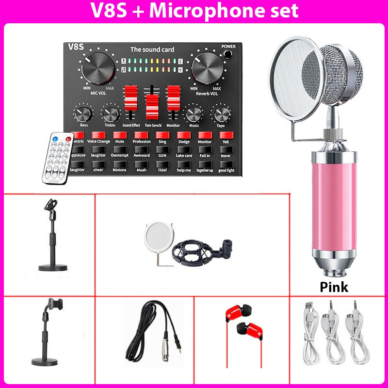 V8S Audio Mixer bluetooth Microphone Stand Live Broadcast  Sound Card Headset Karaoke KTV DJ DSP Phone Computer USB 3.5mm Bottle