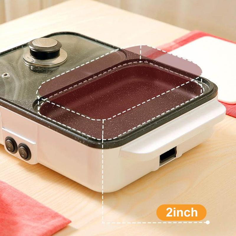 2 IN 1 Electric Hot Pot Cooker BBQ Grill Multifunctional Electric BBQ Grill Non Stick Plate Barbecue Pan Hot Pot