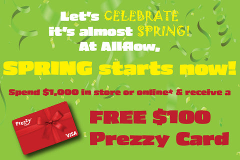 Spring campaign - spend $1,000 ex GST and receive a free $100 Prezzy Card, terms and conditions apply, see this page for further details.