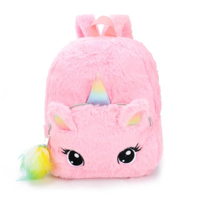 Soft Unicorn Plush Zipper Schoolbag - Affordable Travelgear