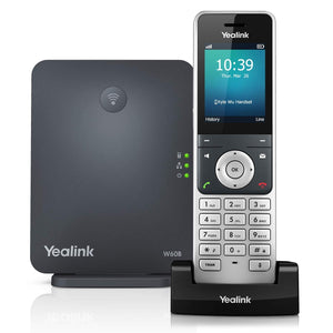 Yealink W60P Cordless DECT IP Phone and Base Station, 2.4-Inch Color Display. 10/100 Ethernet, 802.3af PoE, Power Adapter Included